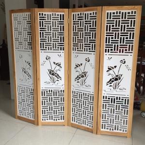 Bình phong gỗ CNC Hoa sen triện BP10