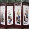 Bình phong gỗ 4 tấm tranh thêu tứ quý