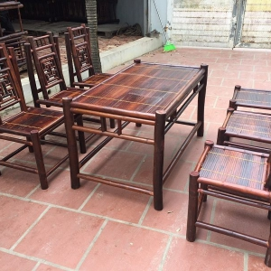 Bàn ghế tre nhà hàng chữ thọ NH01