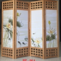 Bình phong gỗ Tranh vải lụa cá chép phú quý BP06