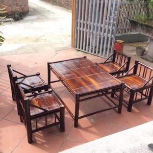Bàn ghế tre trúc bộ 4 ghế ngồi