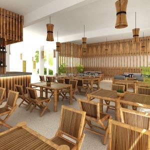 Bàn ghế tre nhà hàng cao cấp
