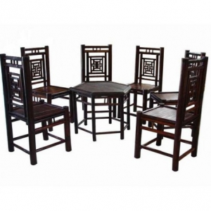 Bộ bàn ghế tre 6 ghế tựa