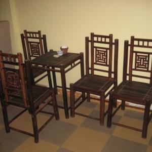 Bộ bàn ghế tre cafe bàn vuông ghế tựa