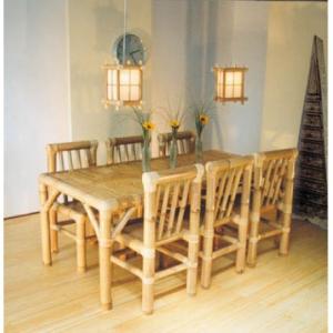 Bộ bàn ghế tre bàn dài 6 ghế