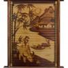 Tranh cưỡi trâu thổi sáo bên sông, được làm từ tre hun khói cao cấp (40cm x 60cm)