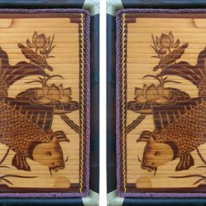 Tranh tre hun khói Cá Chép Ngắm Trăng (40cm x 60cm)