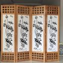 Bình phong gỗ Ô vuông CNC Hoa sen BP08