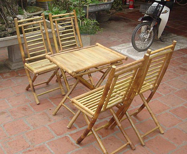 Bộ bàn ghế tre chân gấp