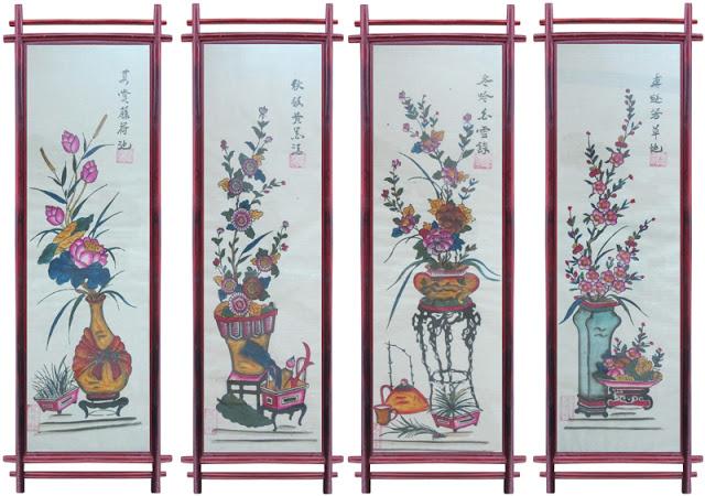 Tranh tre tứ quý bốn mùa Xuân - Hạ - Thu - Đông