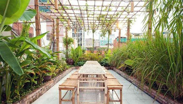 Không gian đẹp trang trí bằng tre tại nhà hàng