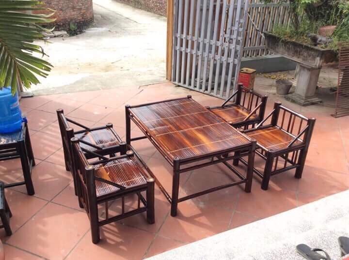 Bộ bàn ghế tre 4 ghế ngồi