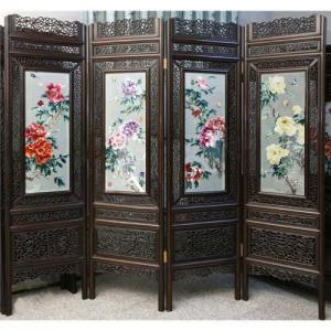 Bình phong gỗ in hoa