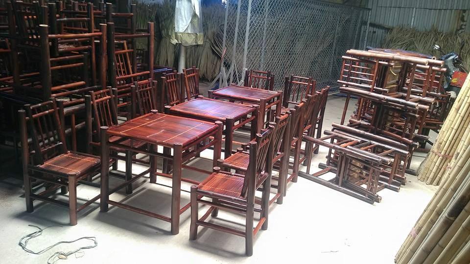 Bàn ghế tre vuông có thể sử dụng trong quán ăn - Cho những khách hàng muốn một không gian riêng tư