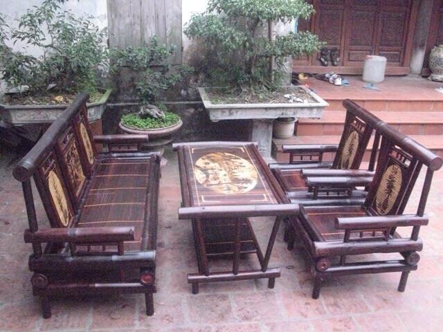 Bộ bàn ghế tre đan
